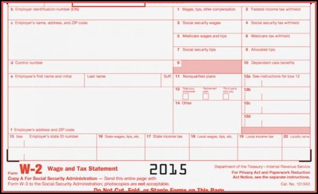 Blank W2 Form 2015