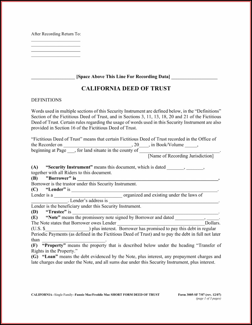 California Deed Of Trust Form Pdf
