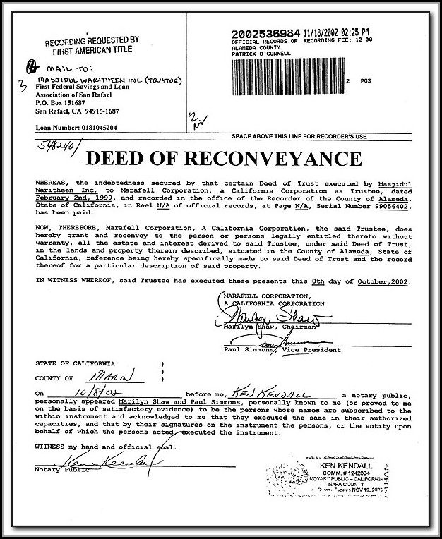 California Deed Of Trust Reconveyance Form