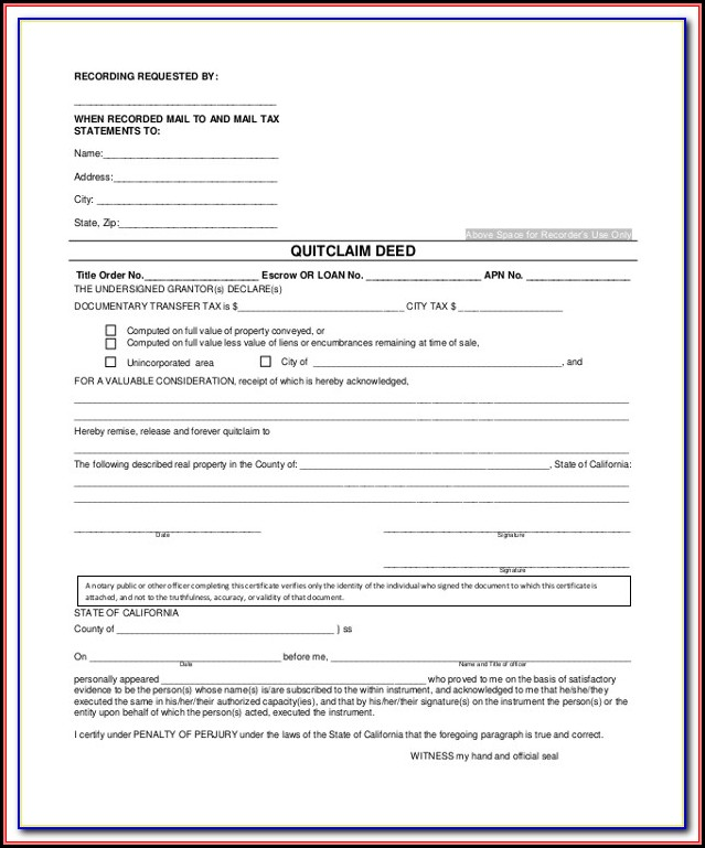 California Quit Claim Deed Form Free Download