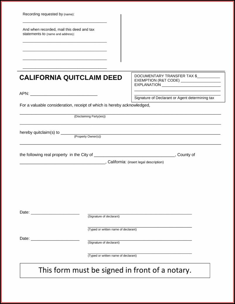 California Quit Claim Deed Form Pdf