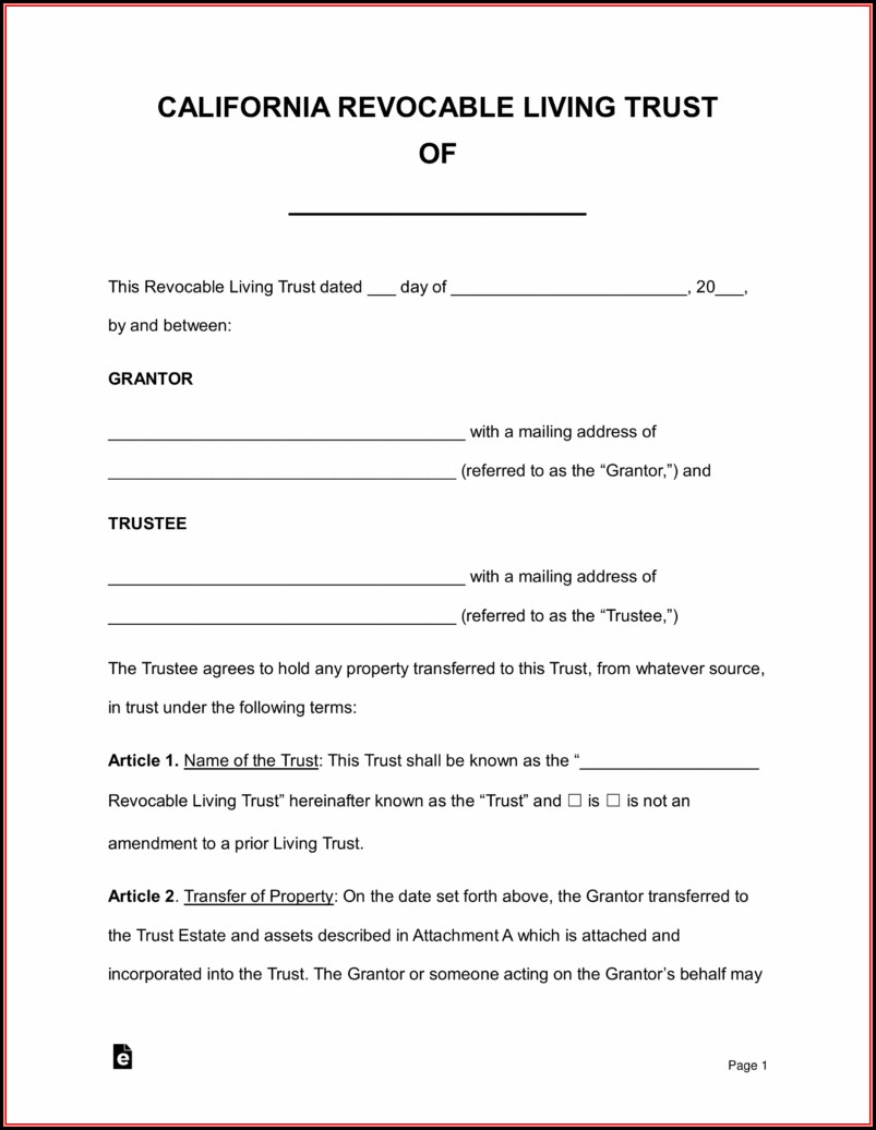 California Revocable Trust Form