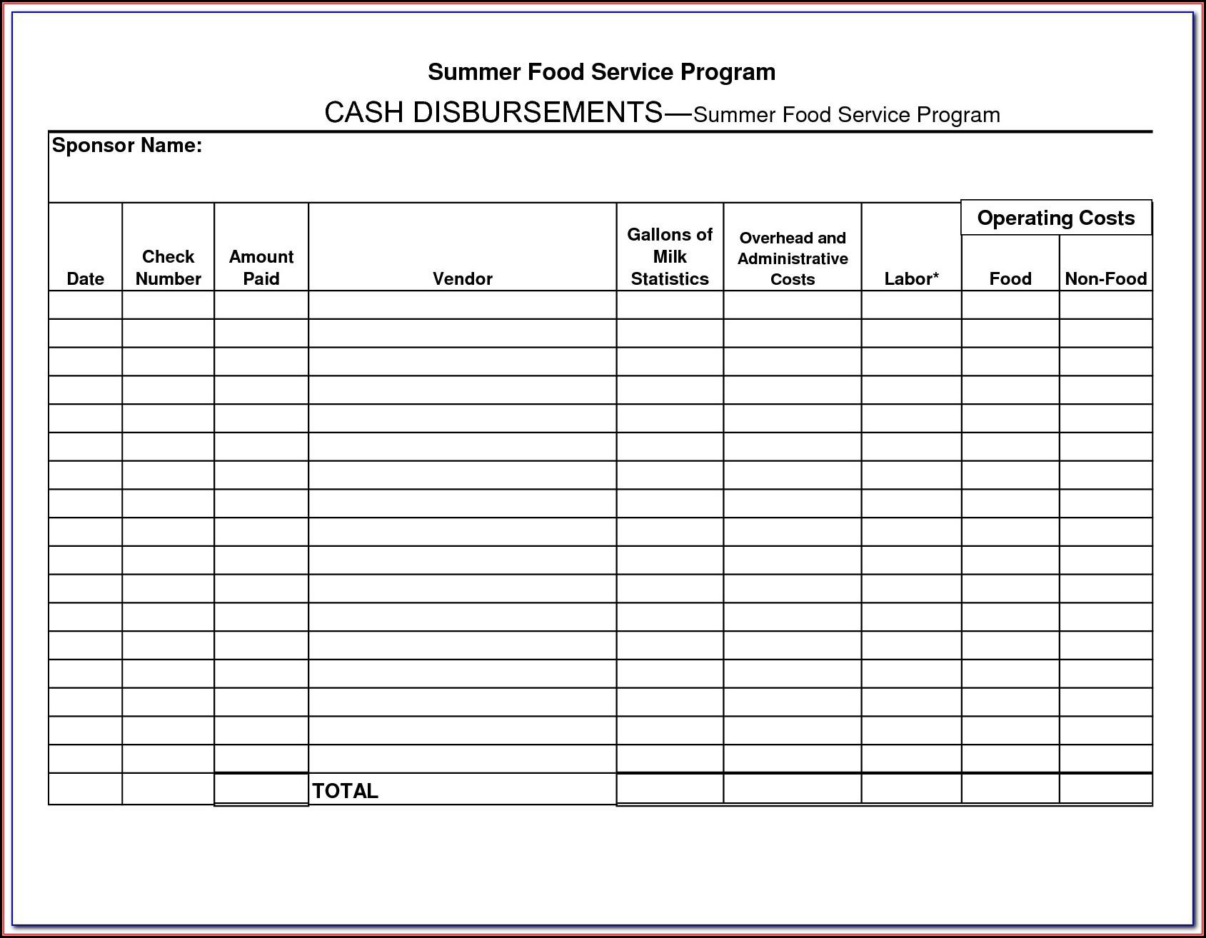 Cash Disbursement Journal Forms