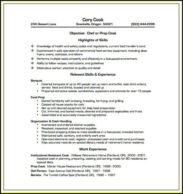 Chef Cv Template Word