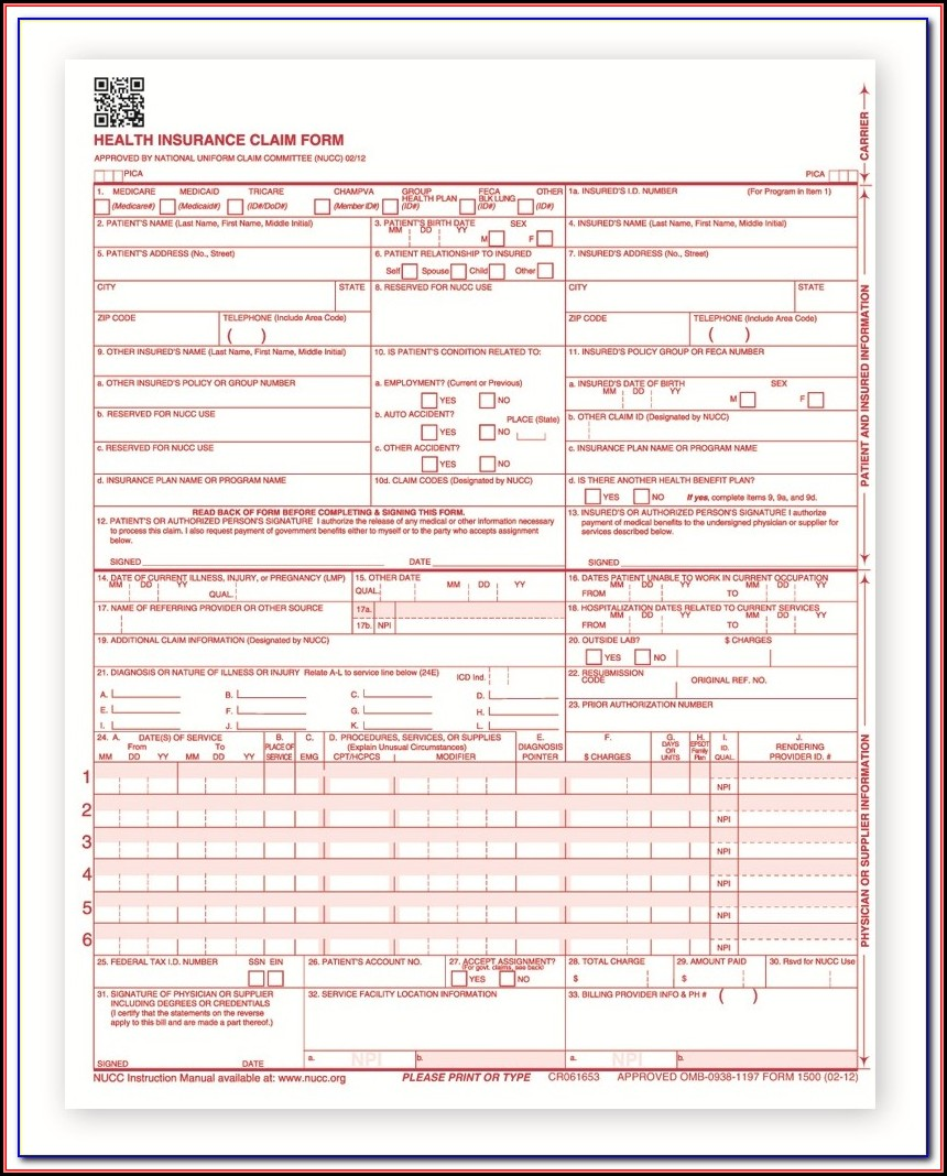 Cms 1450 Claim Form Sample