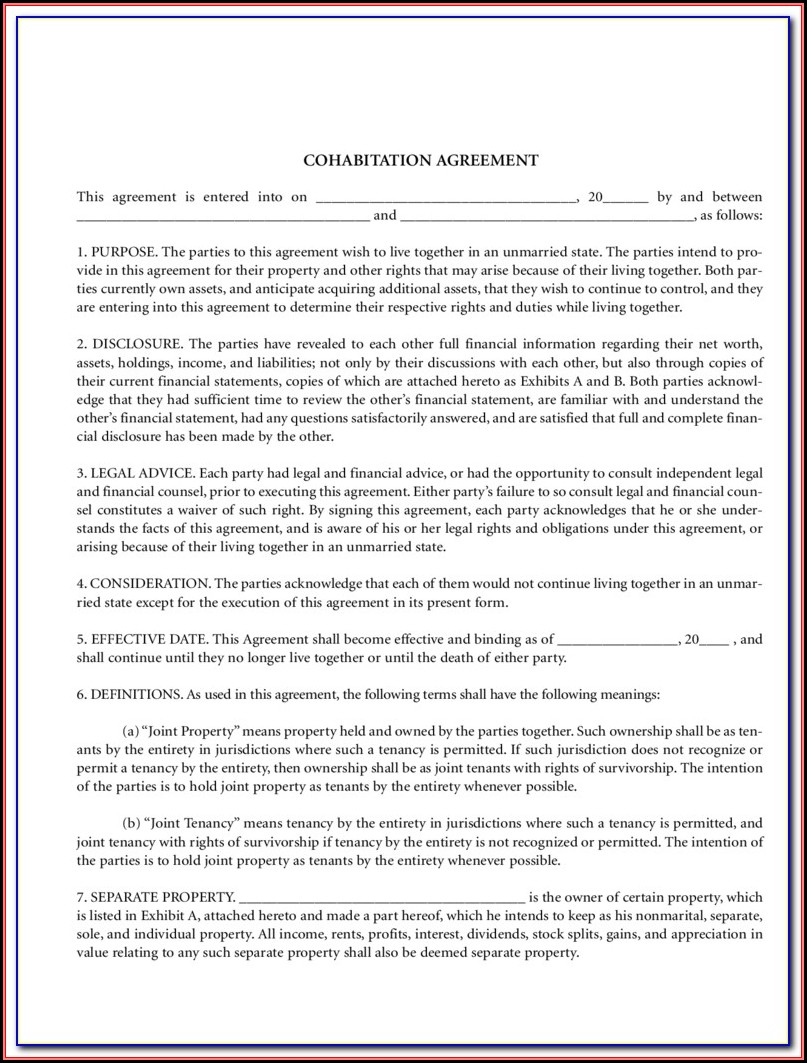 Cohabitation Agreement Form Colorado