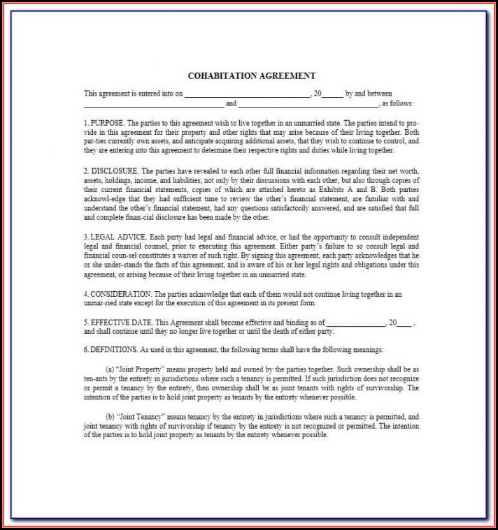 Cohabitation Agreement Form Ontario