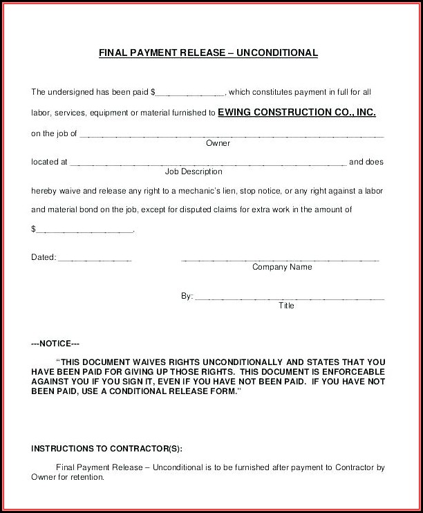 Construction Lien Waiver Form Michigan