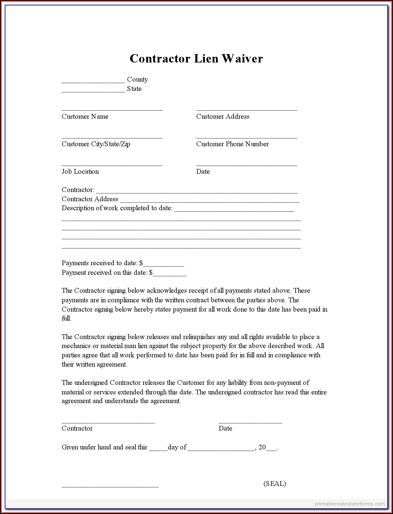 Construction Lien Waiver Form Missouri