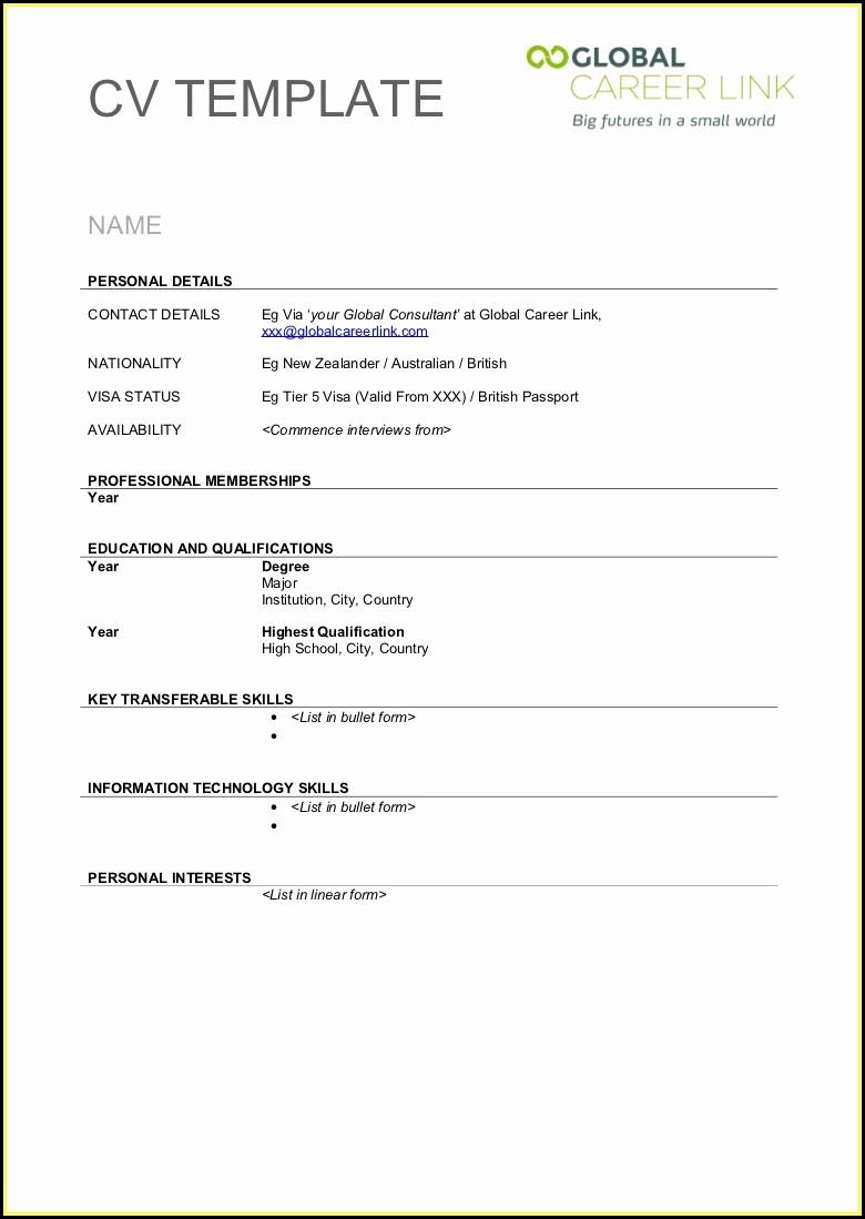 Cv Template Printable Free