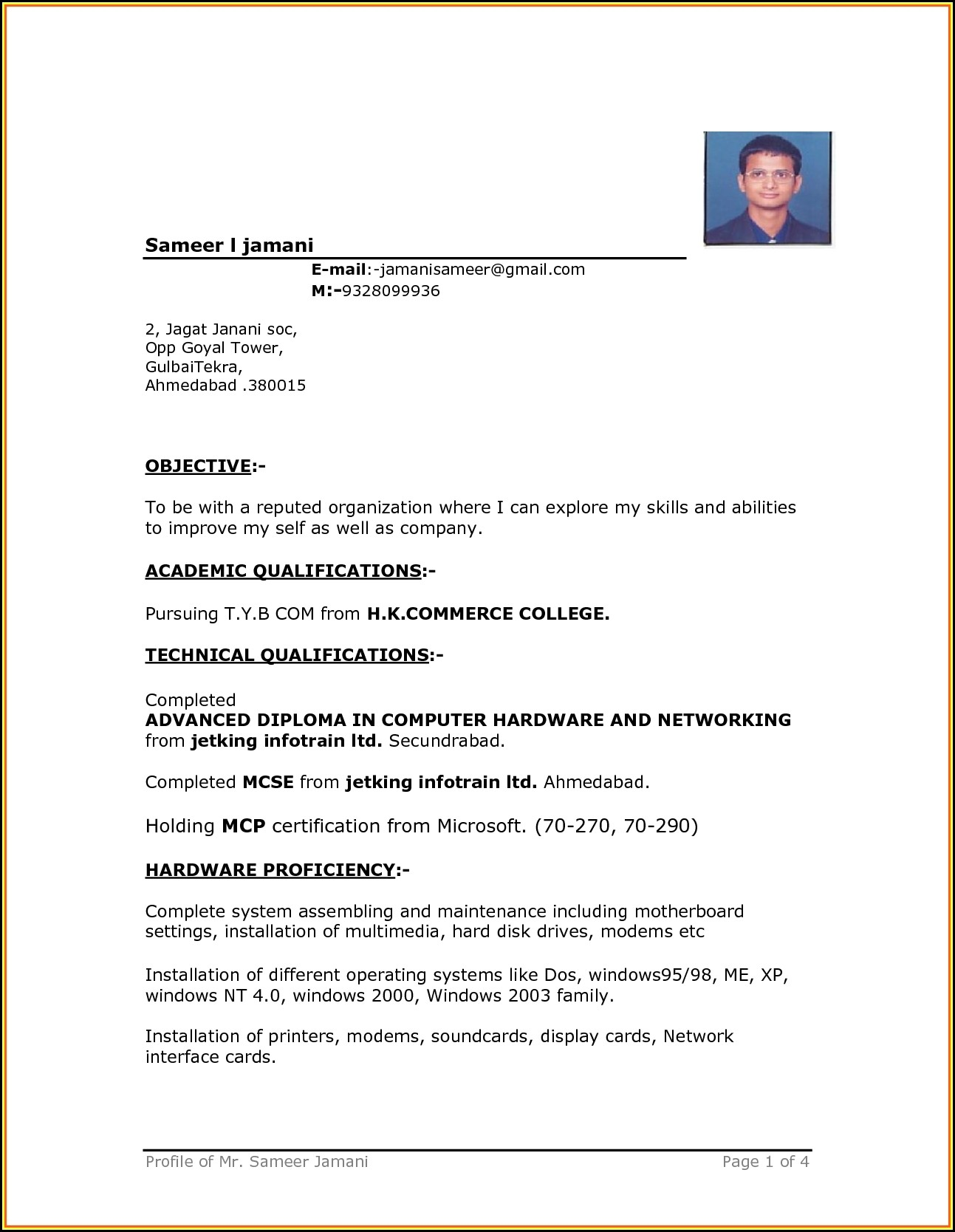 Downloadable Resume Format