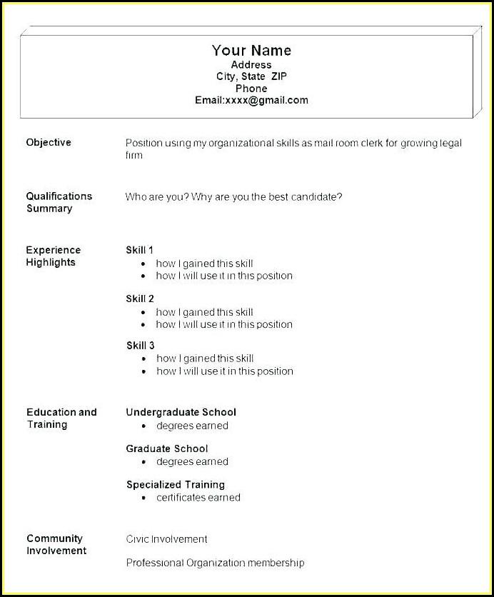 Easy Job Resume Examples