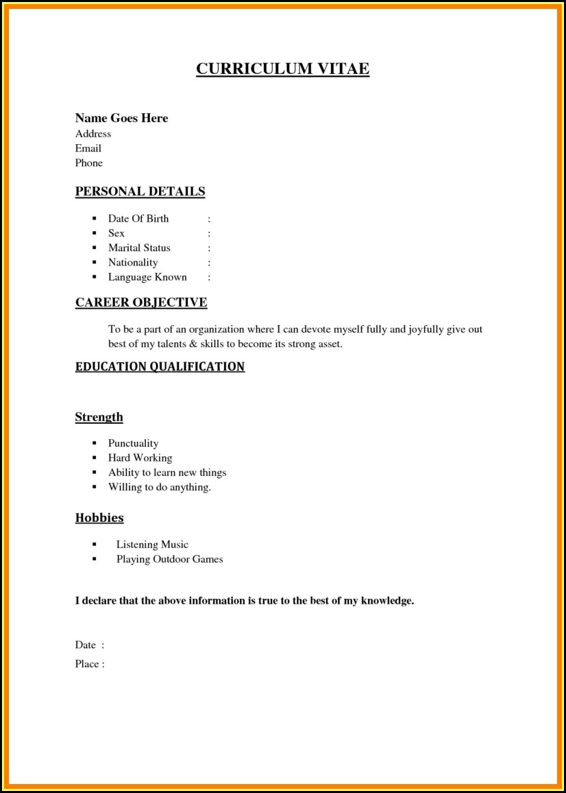 Easy Resumes Templates