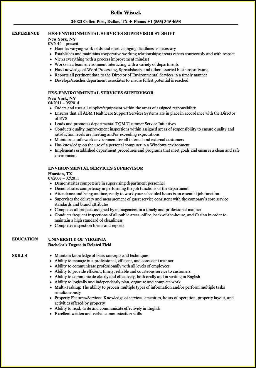 Environmental Services Supervisor Resume