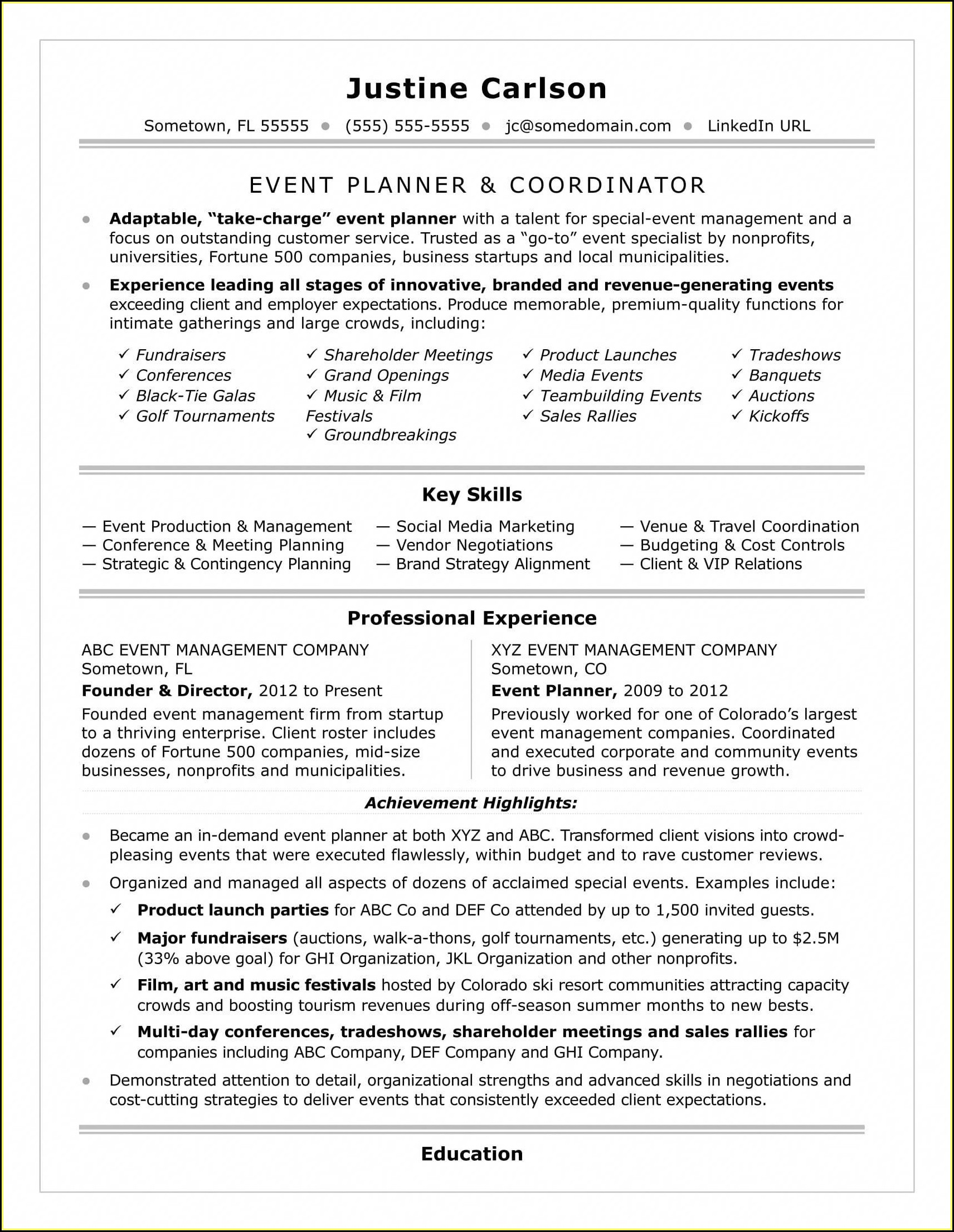 Event Planning Resume Template