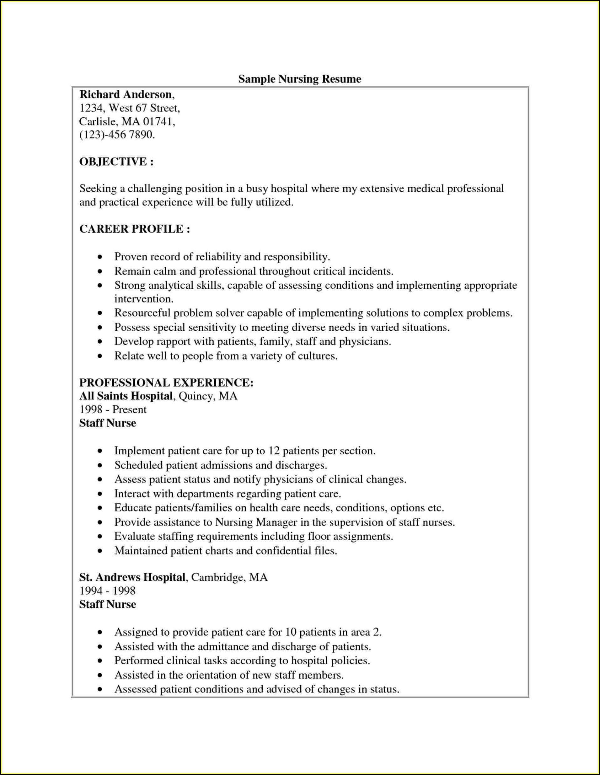 Examples Of Nursing Resume Templates