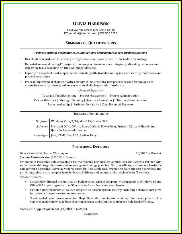 Examples Of Professional Resume Templates