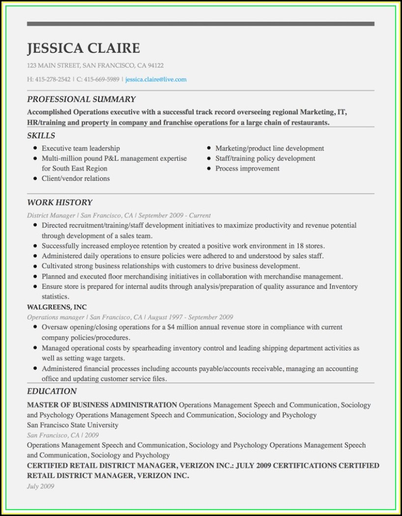 Executive Resume Builder Online