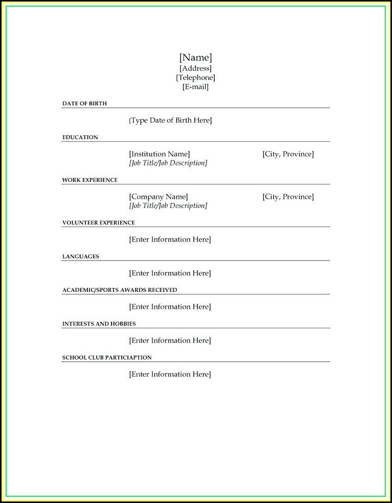 Fill Blank Resume Template Microsoft Word