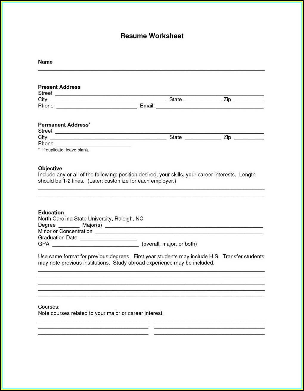 Fill In The Blank Resume For Students