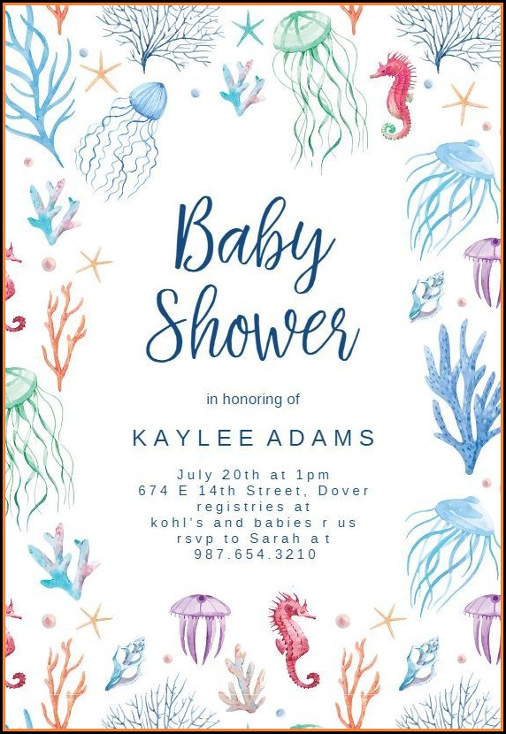 Free Mermaid Baby Shower Invitation Template