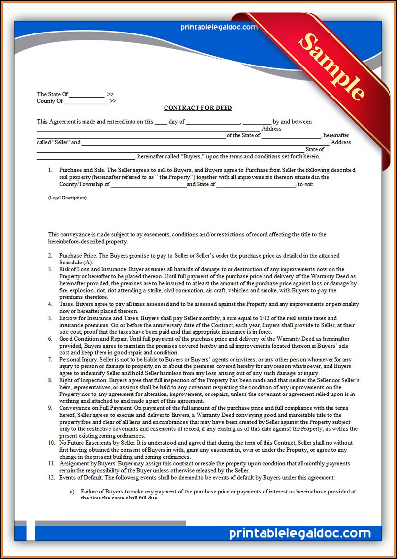 Free Printable Contract For Deed Template