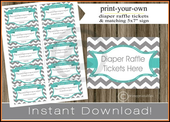 Free Printable Diaper Raffle Ticket Template Download