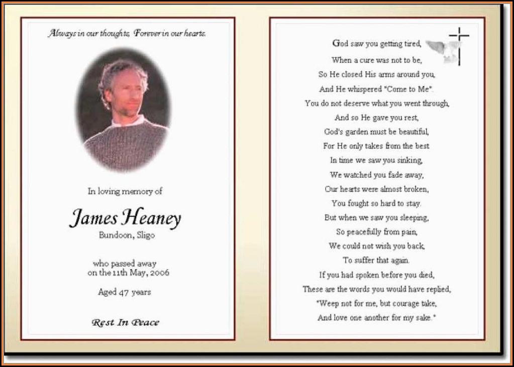 Free Printable Funeral Prayer Card Template