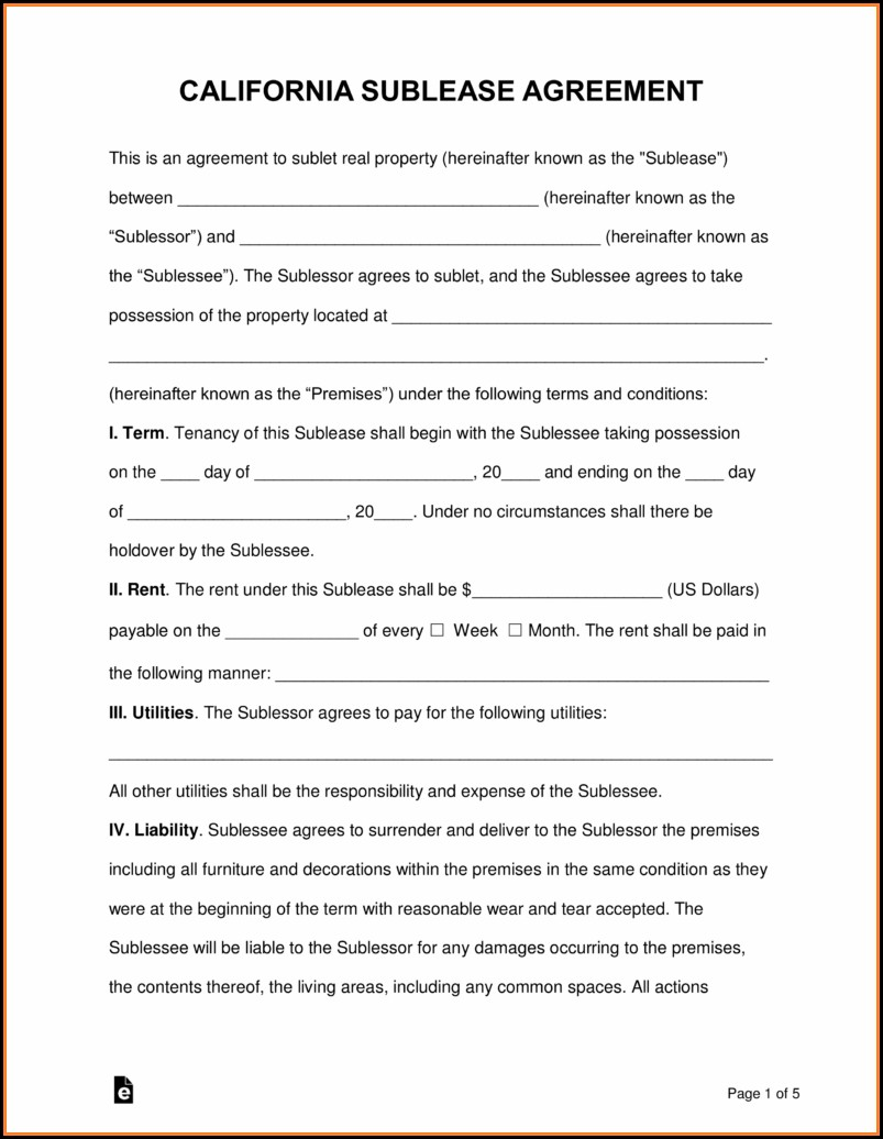 Free Sublease Agreement Template California
