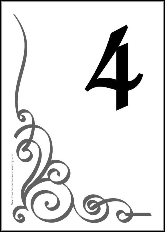 Free Table Number Templates 4x6