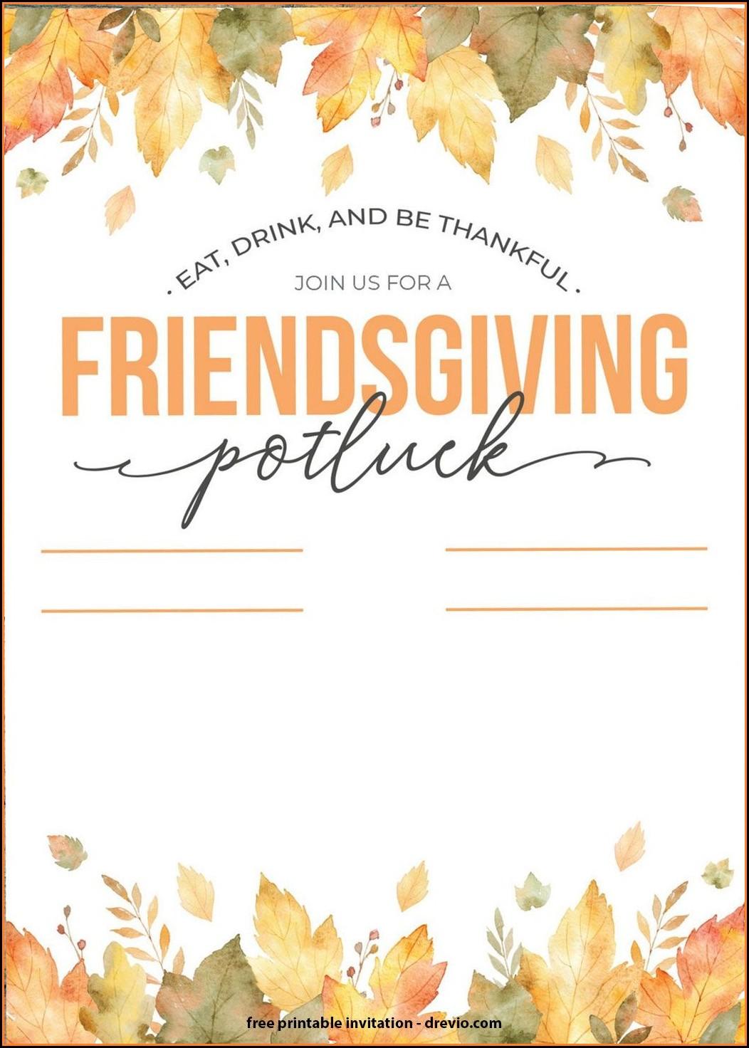 Free Thanksgiving Potluck Invitation Templates