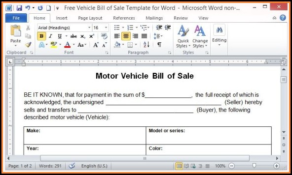 Free Vehicle Bill Of Sale Template Word