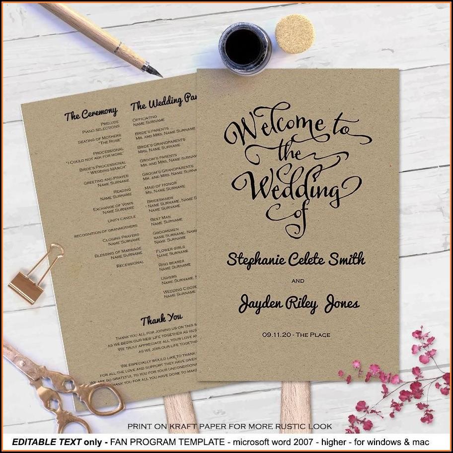 Free Wedding Program Fan Templates Microsoft Word