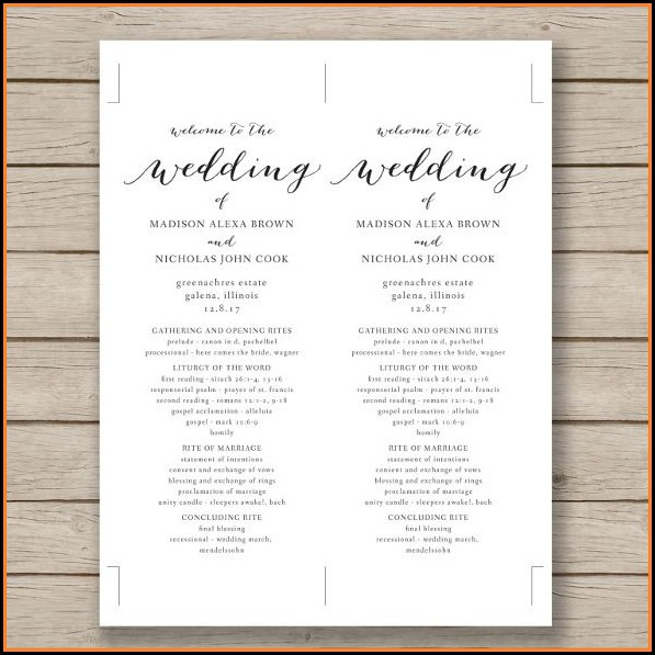 Free Wedding Program Template Word