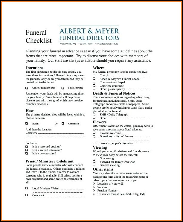 Funeral Checklist Form
