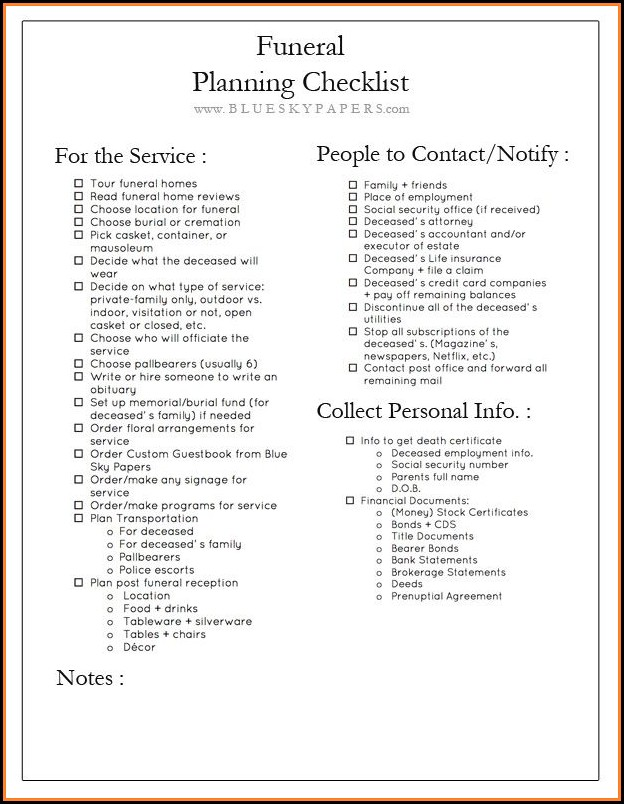 Funeral Checklist Template