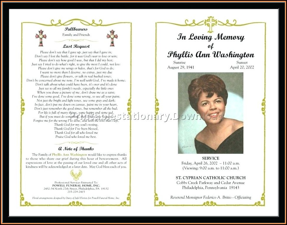 Funeral Program Template Free Download Mac