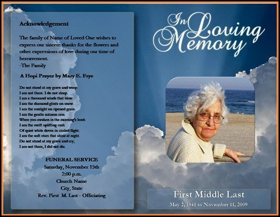 Funeral Program Template Microsoft Word Free