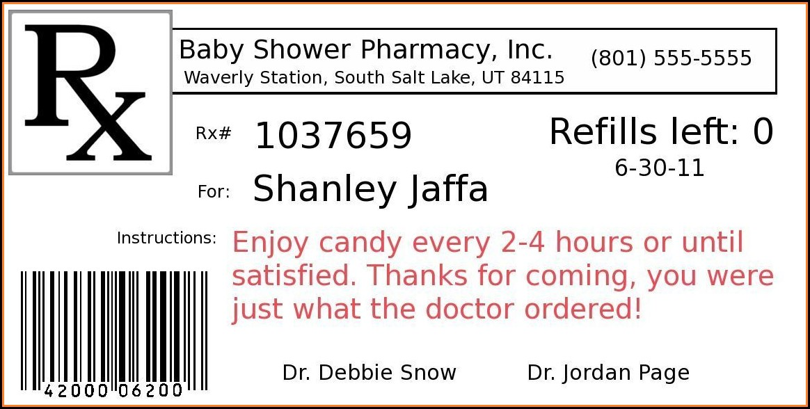 Funny Prescription Bottle Label Template