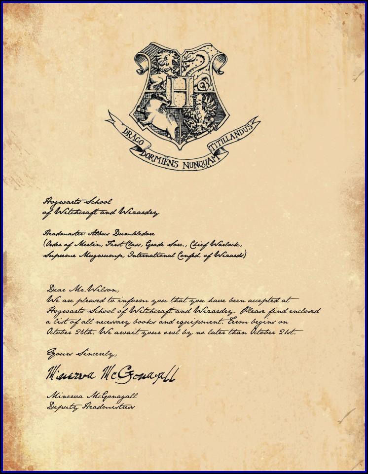 Harry Potter Invitation Letter Template