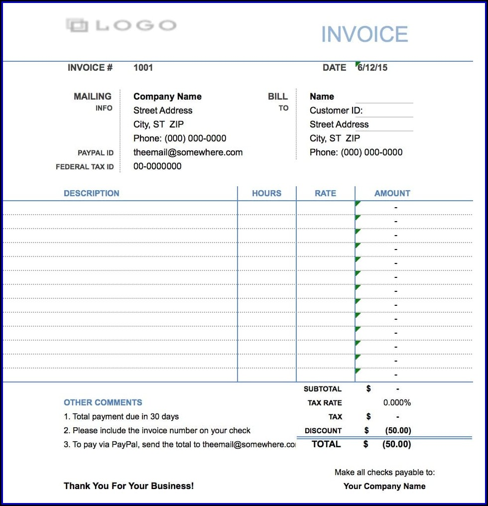 Hourly Invoice Example