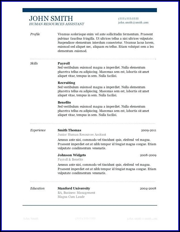 Job Resume Template Word Free