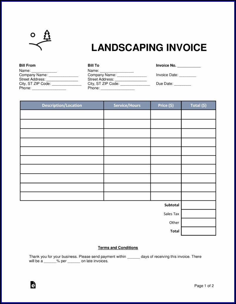 Landscaping Invoice Forms