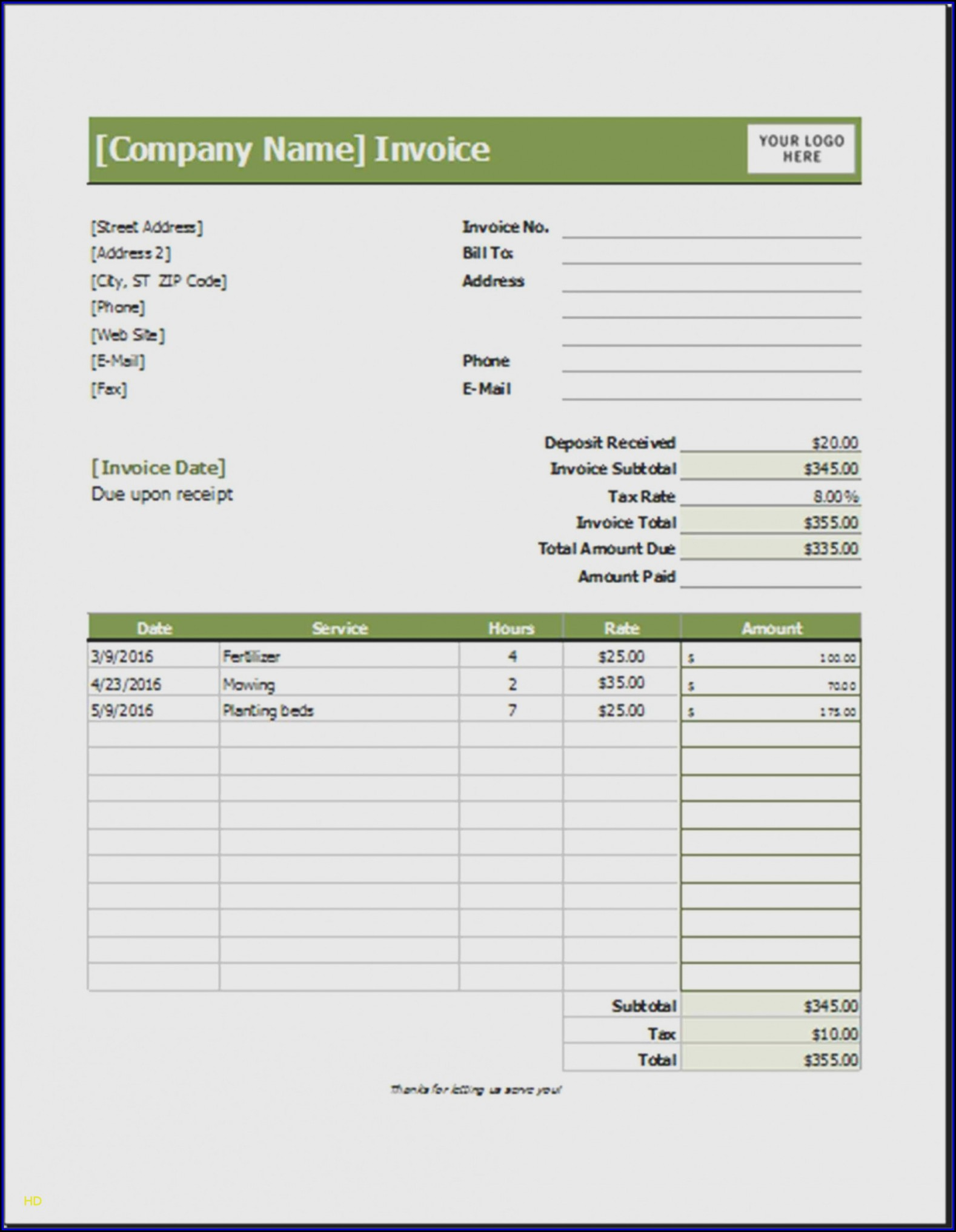 Landscaping Invoice Template Excel