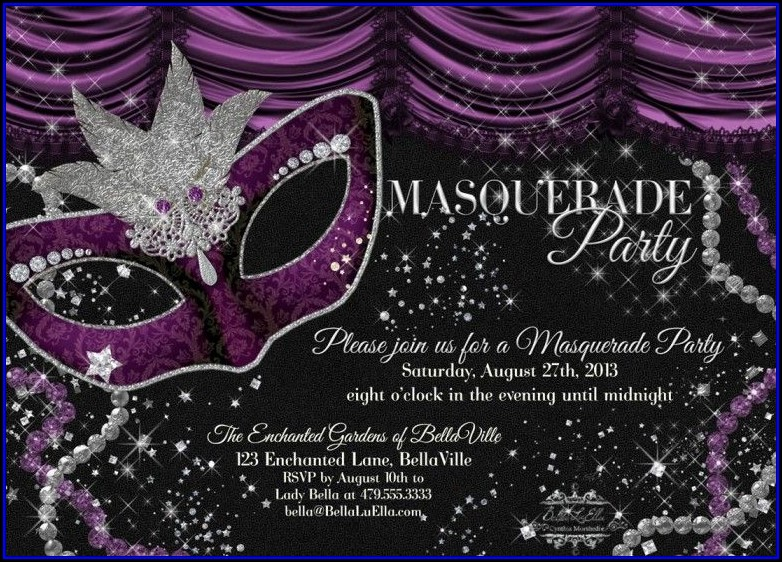 Masquerade Birthday Invitation Templates