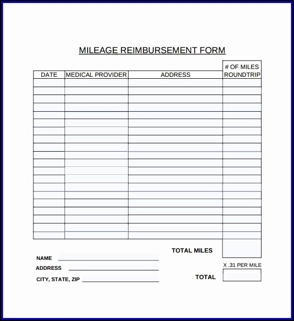 Mileage Reimbursement Form Template Free