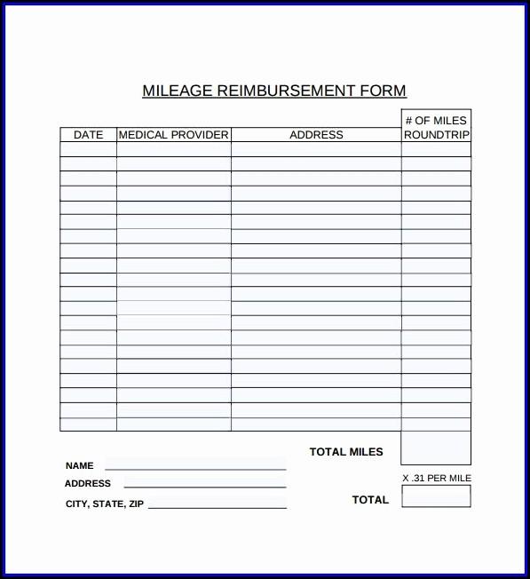 Mileage Reimbursement Form Template Free