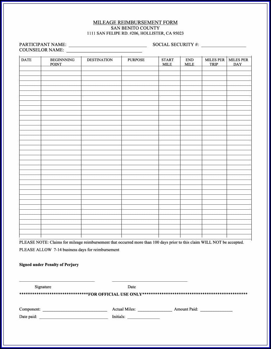 Mileage Reimbursement Policy Template