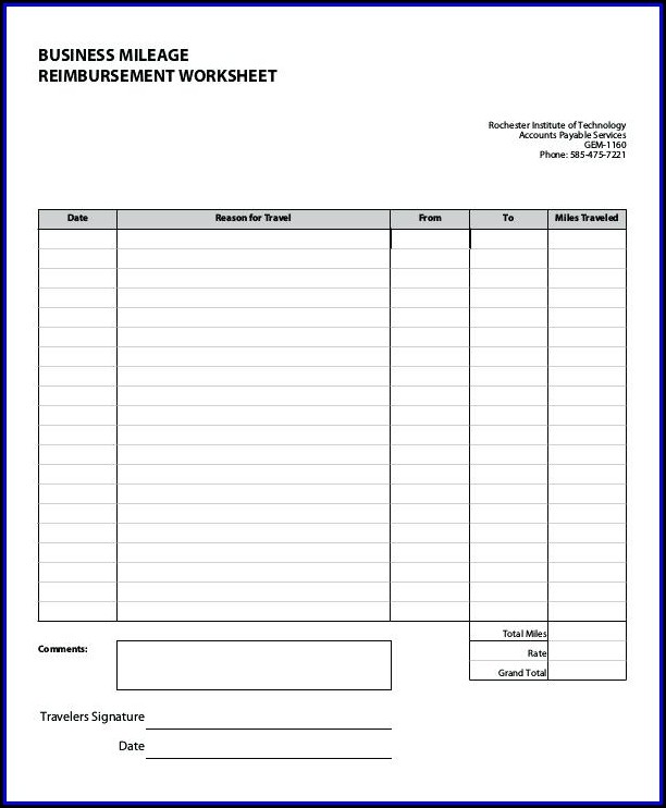 Mileage Reimbursement Template