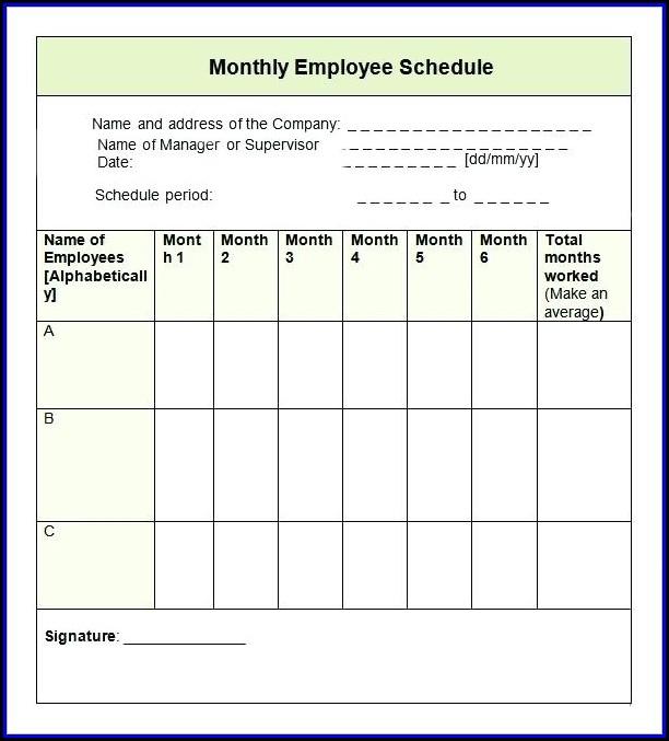 Monthly Employee Schedule Template 2017